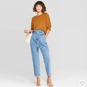 WHO WHAT WEAR Paper Bag Denim Jeans 12
